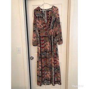 Lulu's Rust Print Long Sleeve Maxi Dress